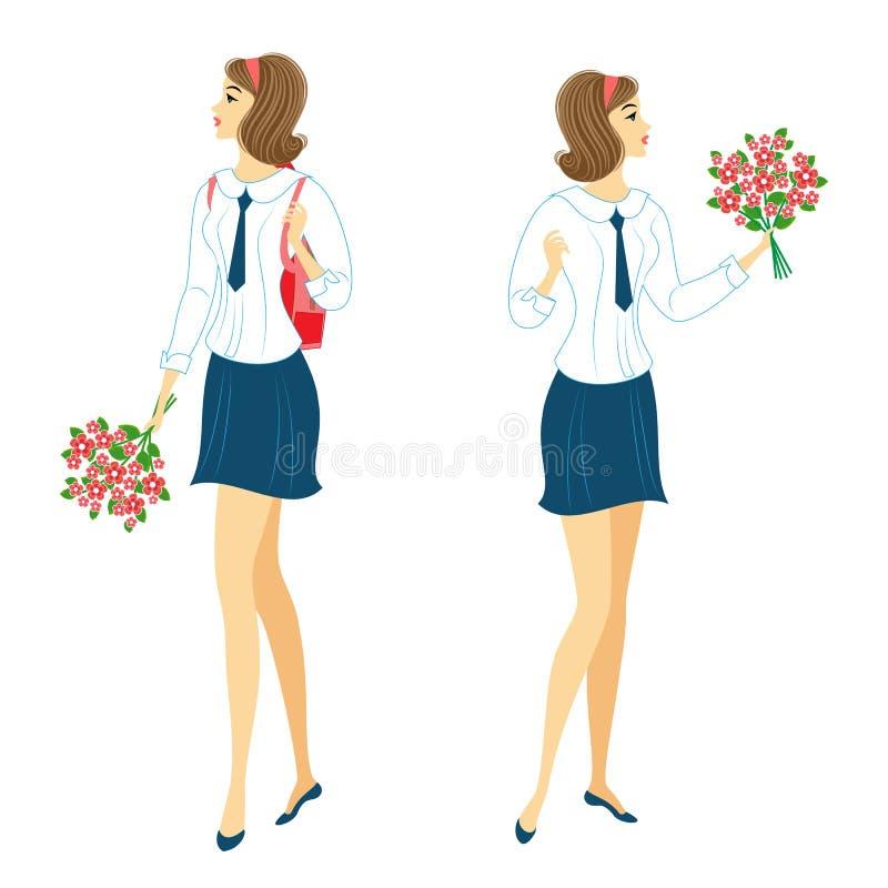 Samling Unga skolflickor med blommor Flickorna ?r mycket trevliga, dem har ett bra lynne, ett leende Damen ska ge royaltyfri illustrationer