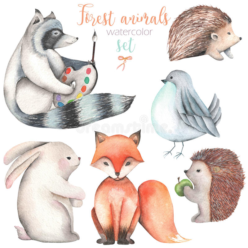 Samling uppsättning av för skogdjur för vattenfärg gulliga illustrationer stock illustrationer