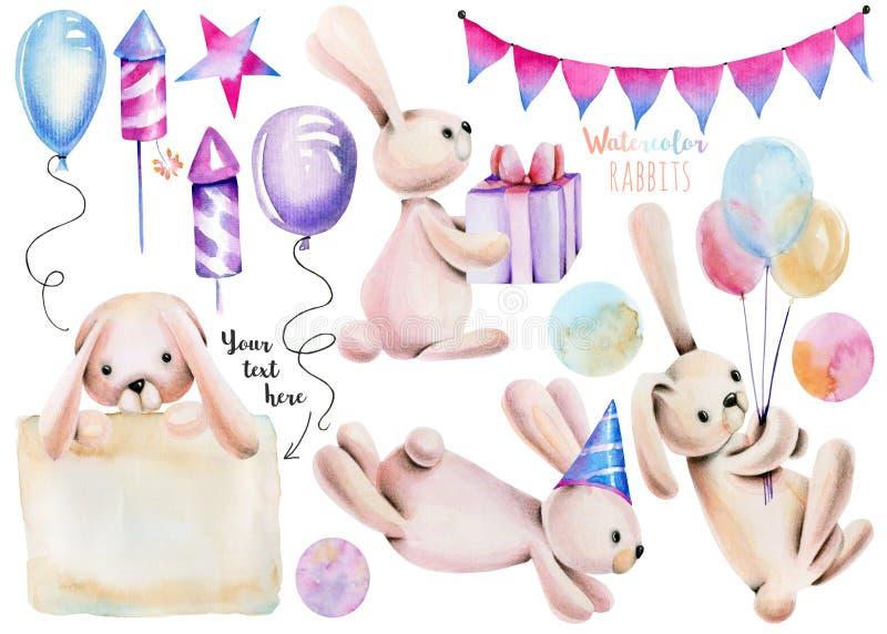 Samling, uppsättning av gulliga festliga kaniner för vattenfärg och ferieobjektillustrationer royaltyfri illustrationer