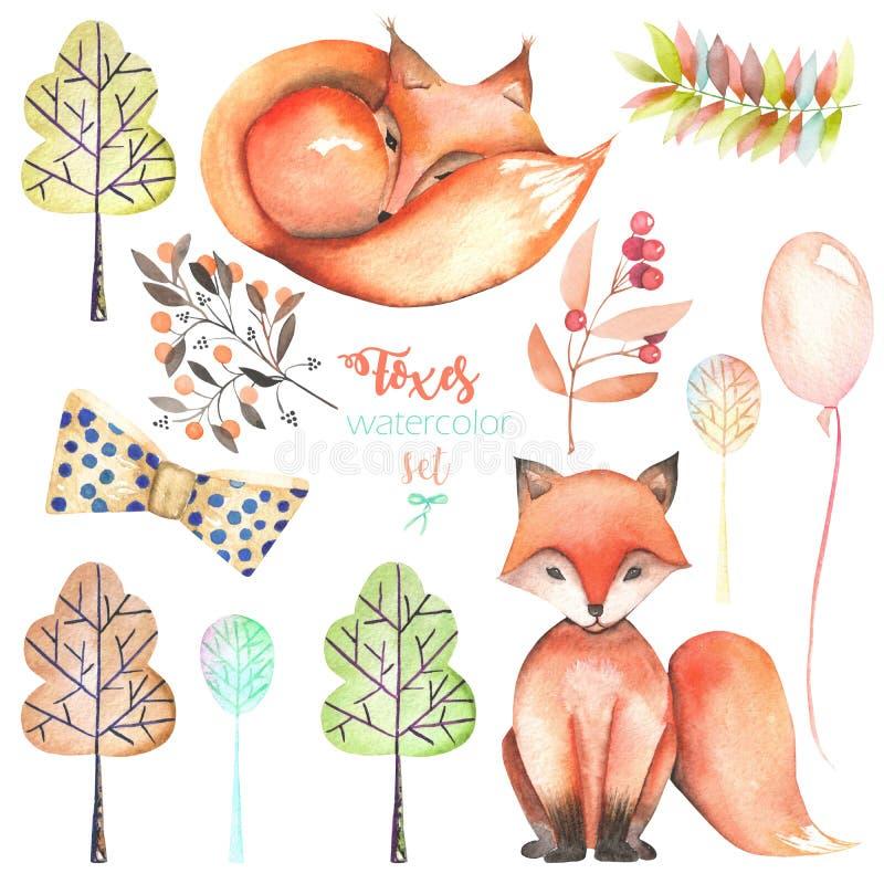 Samling, uppsättning av gulliga rävar för vattenfärg och skogbeståndsdelar stock illustrationer