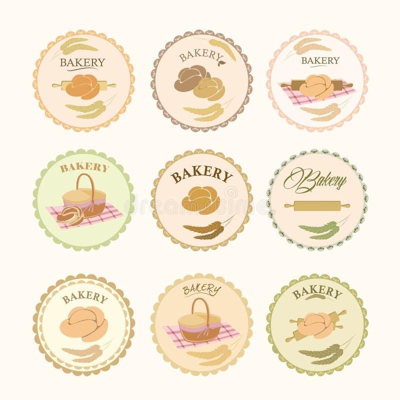Samlingar av bageridesignbeståndsdelar Uppsättningen av bagerisymboler, logoer, etiketter, förser med märke royaltyfri illustrationer