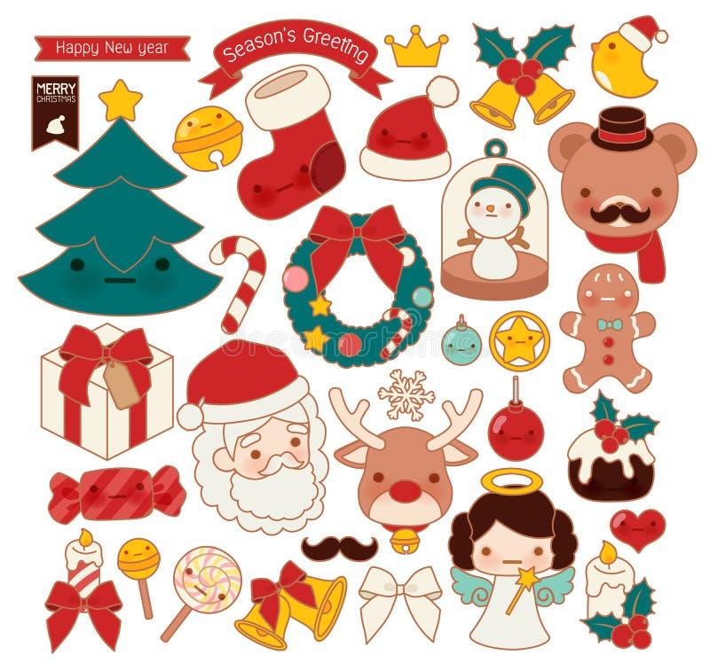 Samlingen av älskvärd jul klottrar symbolen, den gulliga snögubben, den förtjusande ängeln, den söta kransen, kawaiipepparkakan,  stock illustrationer