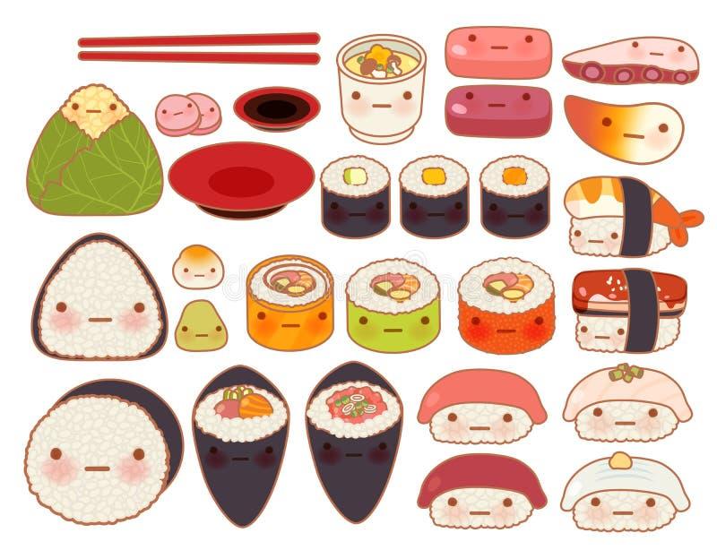 Samlingen av älskvärt behandla som ett barn japanskt orientaliskt matklotter stock illustrationer