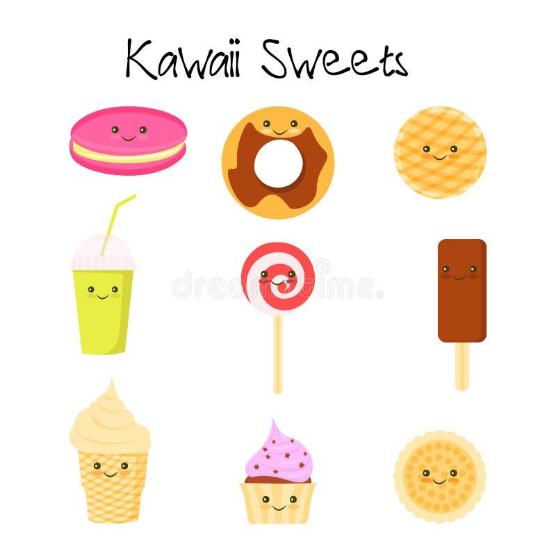 Samlingen av älskvärt behandla som ett barn sötsak- och efterrättklottersymbolen stock illustrationer