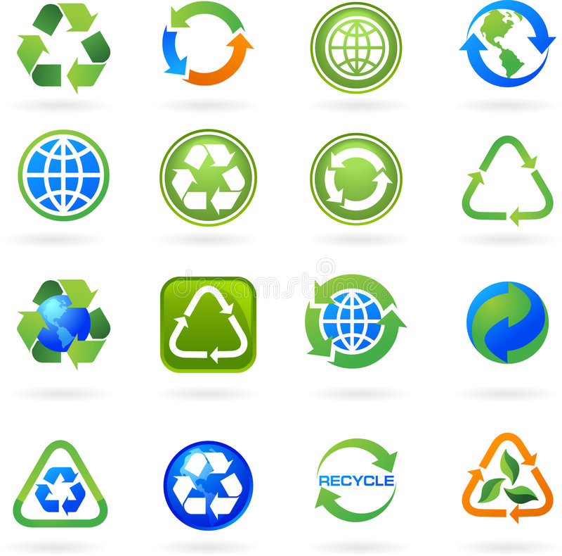 Samlingen av återanvänder symboler och logoer stock illustrationer