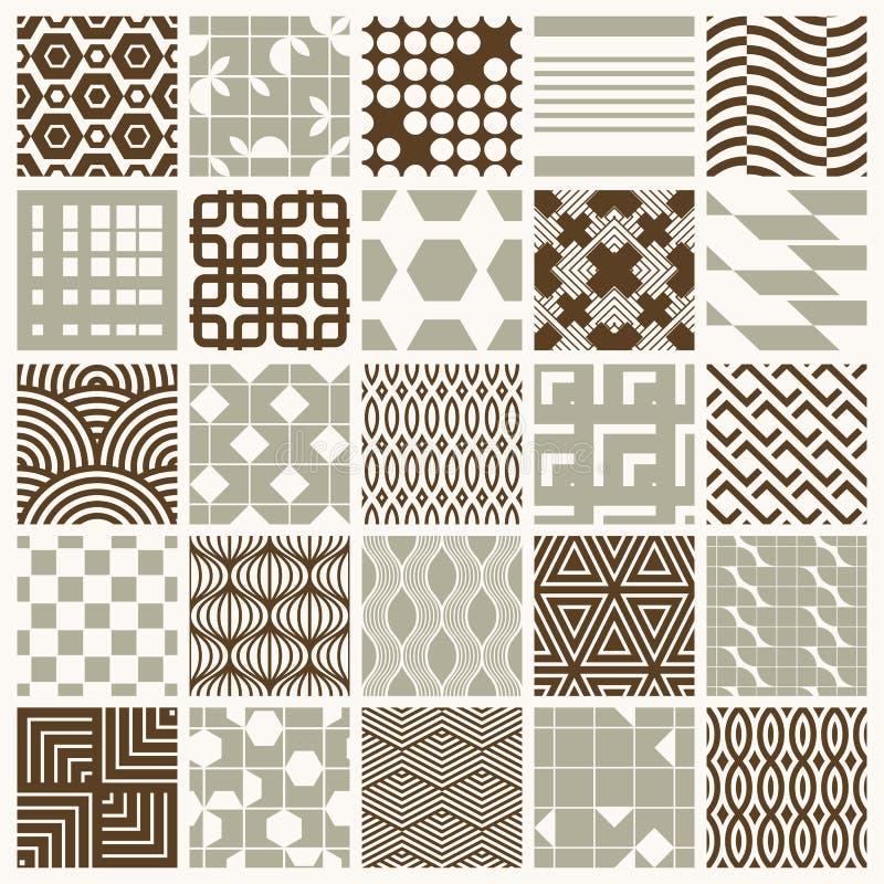 Samlingen av abstrakta sömlösa sammansättningar för vektor som var bästa för bruk som inpackningslegitimationshandlingar, symmetr stock illustrationer