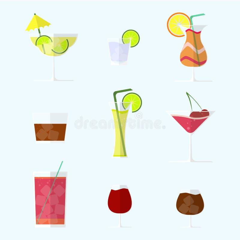 Samlingen av alkoholcoctails och annan dricker royaltyfria foton