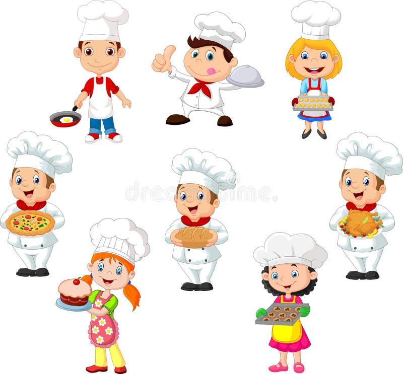 Samlingen av barn lagar mat kocken på vit bakgrund stock illustrationer