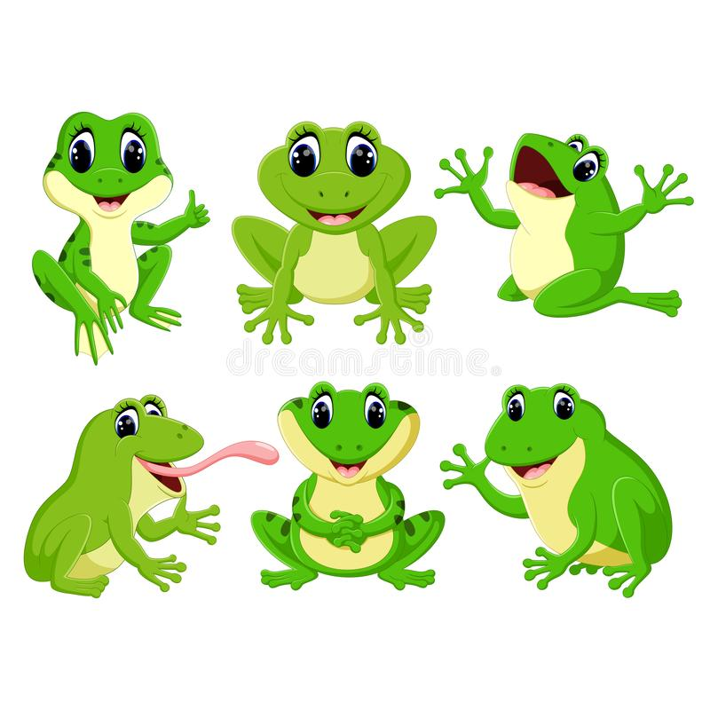Samlingen av de nätta gröna grodorna i olikt posera royaltyfri illustrationer