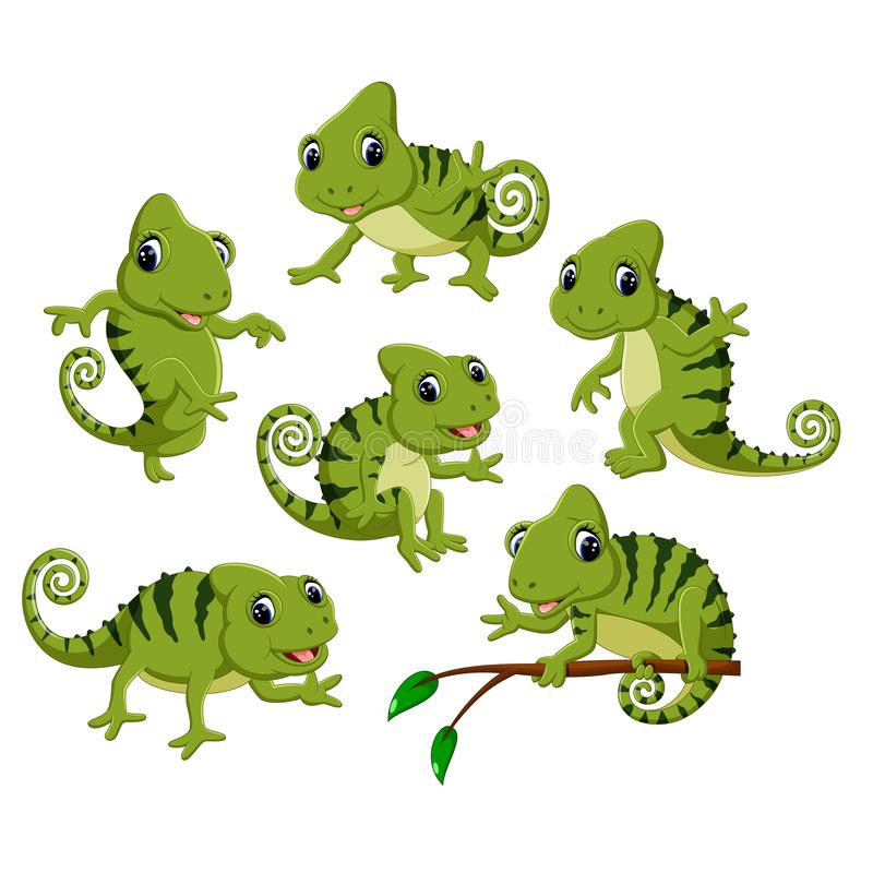 Samlingen av den gröna kameleonten med olikt posera stock illustrationer