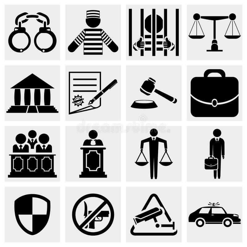 Laglig, lag- och rättvisasymbolsuppsättning för människa. royaltyfri illustrationer