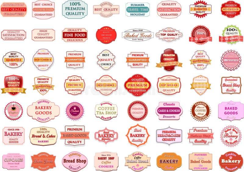 Samlingen av den retro bagerilogoen för tappning förser med märke och etiketter stock illustrationer