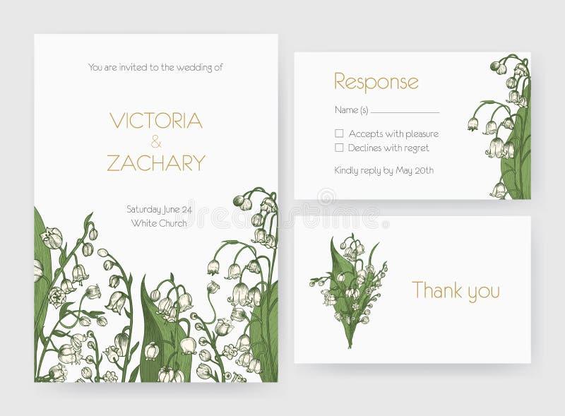 Samlingen av den romantiska bröllopinbjudan, sparar datum- och svarskortmallarna som dekoreras med den lösa liljan av stock illustrationer