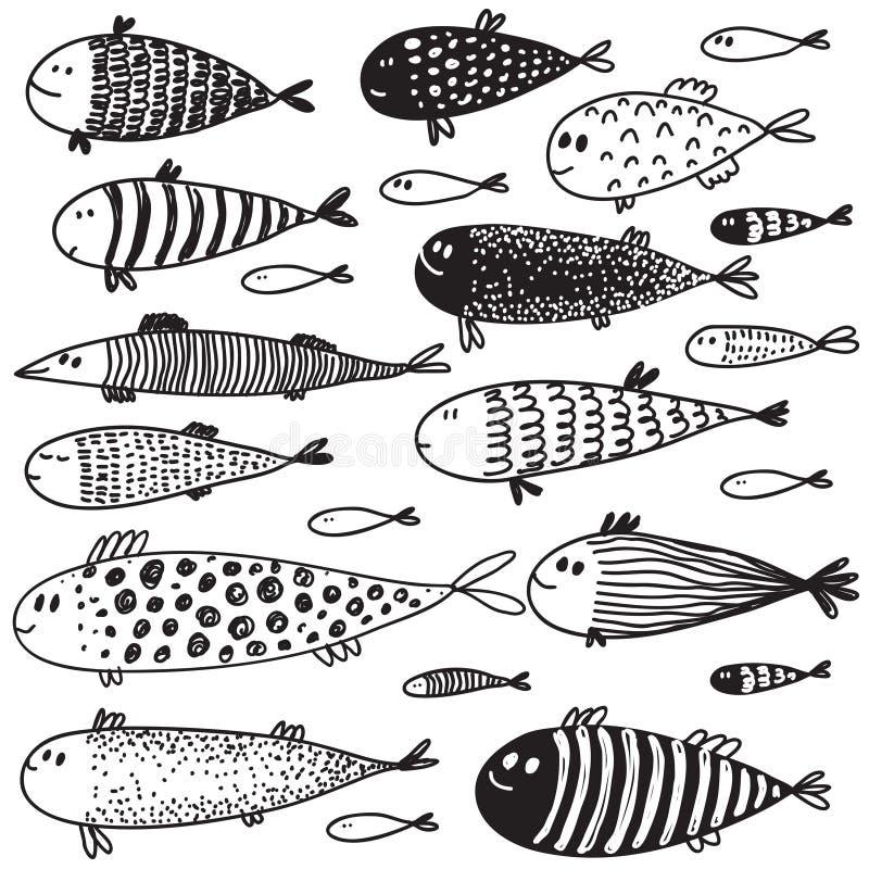 Samlingen av den utdragna gulliga fisken för handen skissar in stil stock illustrationer