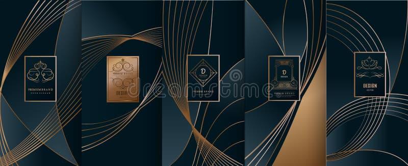 Samlingen av designbeståndsdelar, etiketter, symbol, inramar, för att förpacka, stock illustrationer