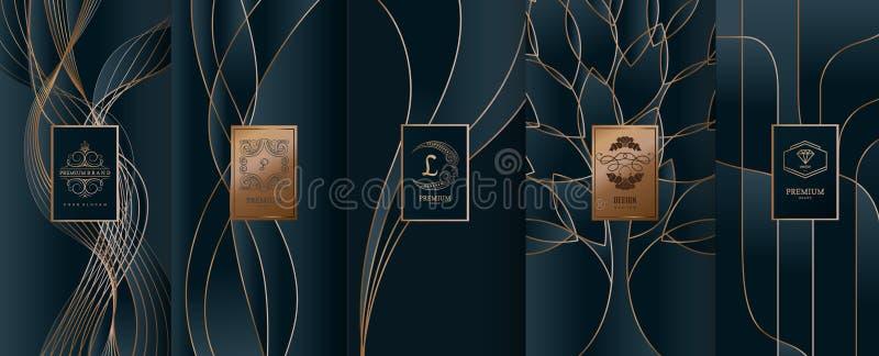 Samlingen av designbeståndsdelar, etiketter, symbol, inramar, för att förpacka, vektor illustrationer