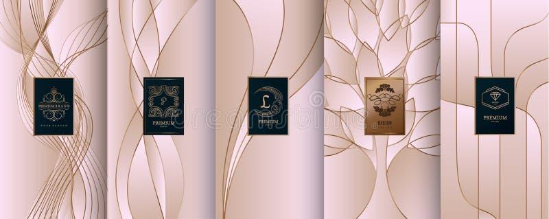 Samlingen av designbeståndsdelar, etiketter, symbol, inramar, för att förpacka, royaltyfri illustrationer