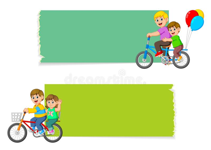 Samlingen av det tomma brädet med barnen som rider cykeln stock illustrationer