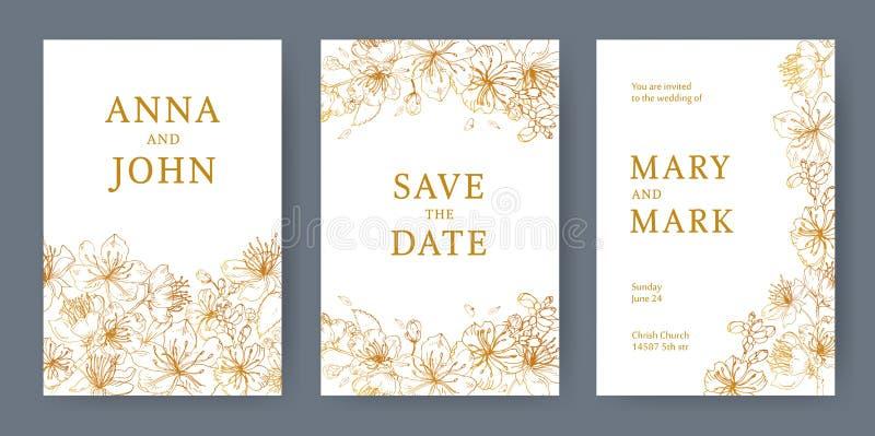 Samlingen av eleganta mallar för reklamblad, sparar datumkortet eller bröllopinbjudan med härlig japan sakura stock illustrationer