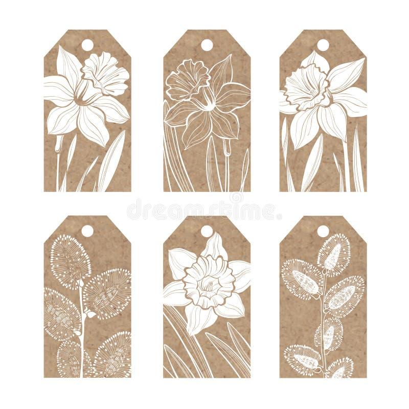 Samlingen av etiketter för kraft papper med våren blommar påskliljor vektor illustrationer