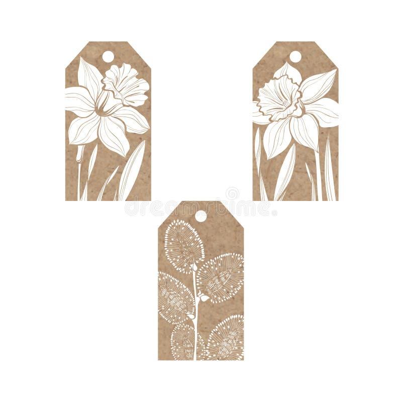 Samlingen av etiketter för kraft papper med våren blommar påskliljor royaltyfri illustrationer