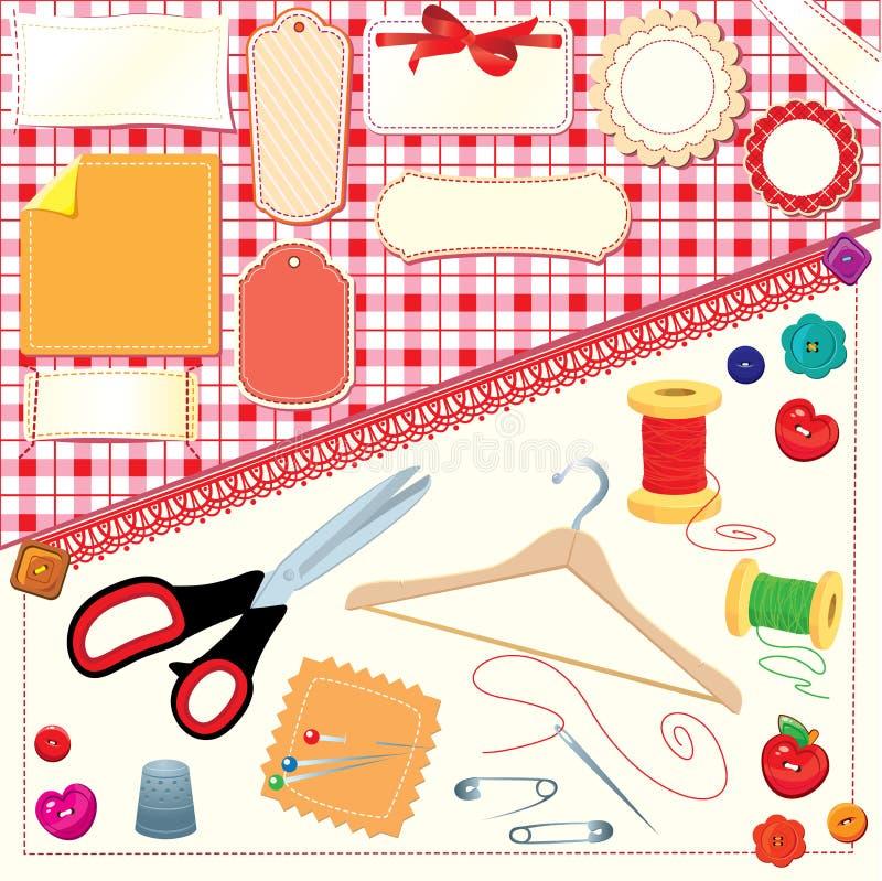 Samlingen av etiketter, sömnaden, handarbete bearbetar. vektor illustrationer