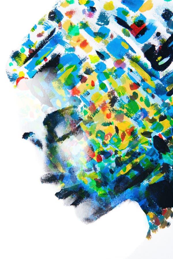 Samlingen av färger av tankar för kvinna` ett s stock illustrationer
