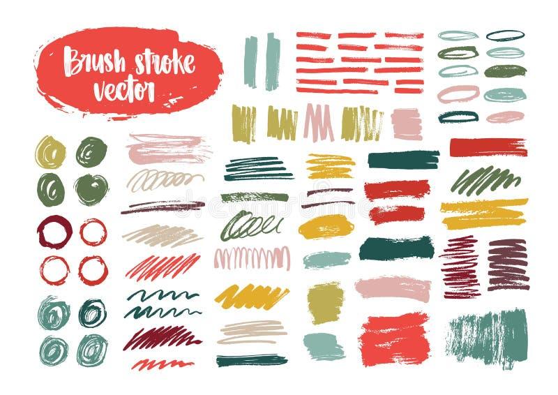 Samlingen av färgrika borsteslaglängder, målarfärg spårar, smetar, suddar, fläckar, klottrar isolerat på vit bakgrund Uppsättning stock illustrationer