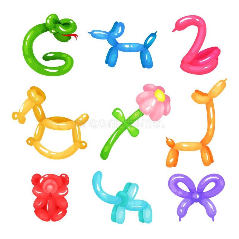 Samlingen av färgrika glansiga ballonger i olika former slingrar, dog, svanen, hästen, blomman, giraffet, björnen, elefant och royaltyfri illustrationer