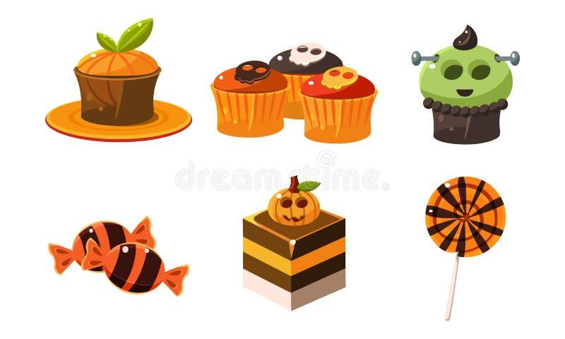 Samlingen av färgrika halloween sötsaker, godisar, muffin, feriesötsak behandlar vektorillustrationen på ett vitt stock illustrationer