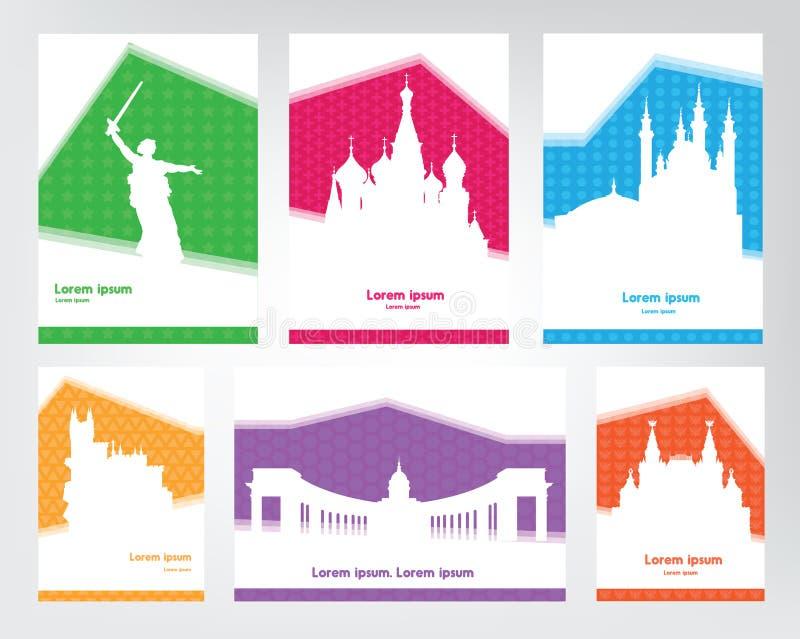 Samlingen av färgrika touristic affischer med vit konturryss siktar Loppmallar med utrymme för text royaltyfri illustrationer