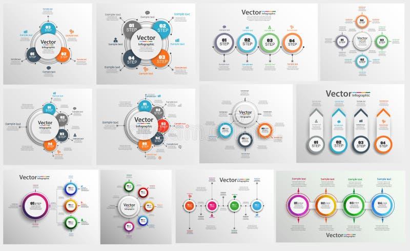 Samlingen av färgrikt infographic kan användas för workfloworientering, diagram, nummeralternativ, rengöringsdukdesign vektor illustrationer