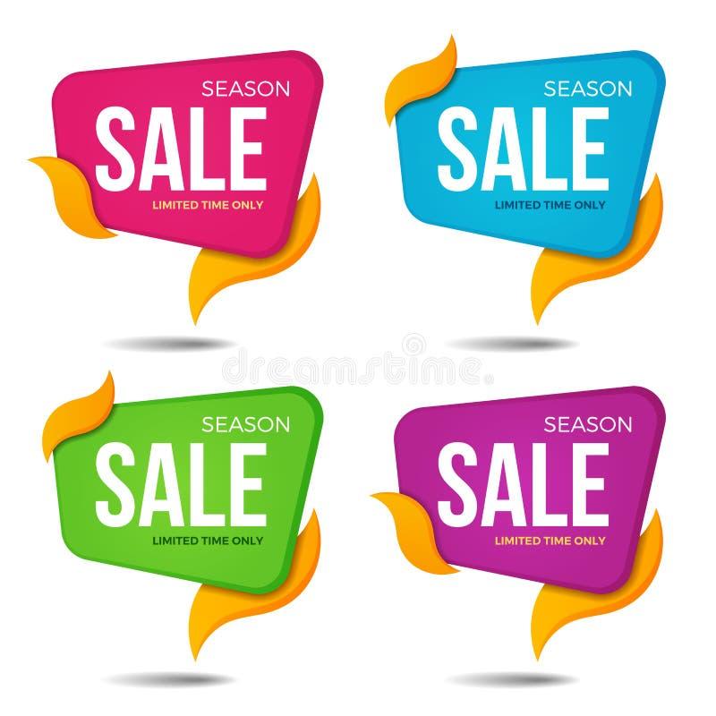 Samlingen av försäljningen märker prislappbanerklistermärkear emblem vektor illustrationer