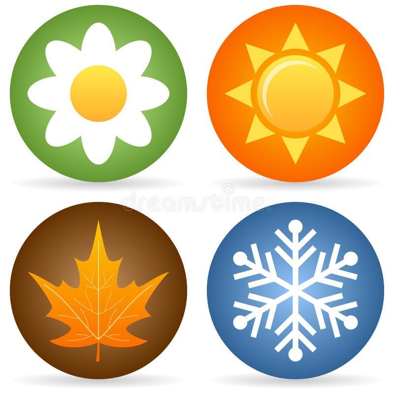 Fyra säsongsymboler vektor illustrationer
