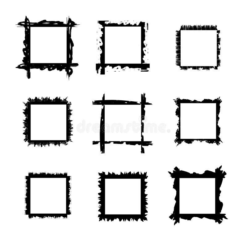 Samlingen av fyrkantiga drog grungeramar för den svarta handen, gränser ställde in Vektorillustration i svart som isoleras över v royaltyfri illustrationer