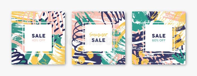 Samlingen av fyrkantiga kortmallar med abstrakta ljusa kulöra målarfärgfläckar, fläckar, droppar, klottrar, borstar slaglängder stock illustrationer