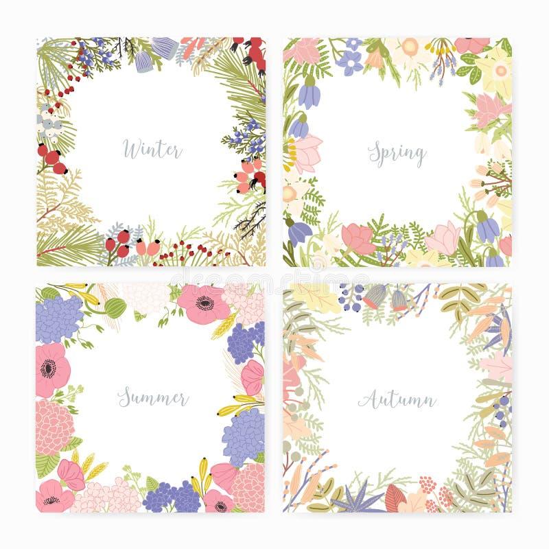 Samlingen av fyrkantiga kortmallar med olik säsong namnger, och ramar som göras av härligt löst blomma, blommar stock illustrationer
