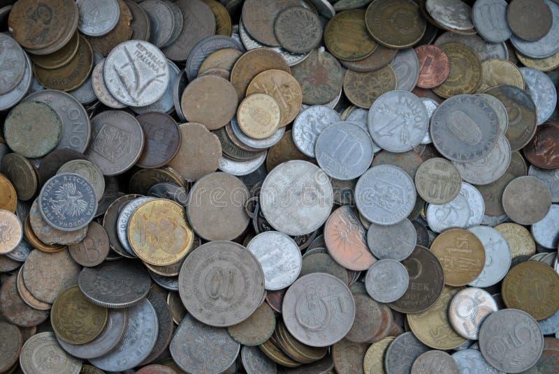 Samlingen av gamla mynt royaltyfria foton