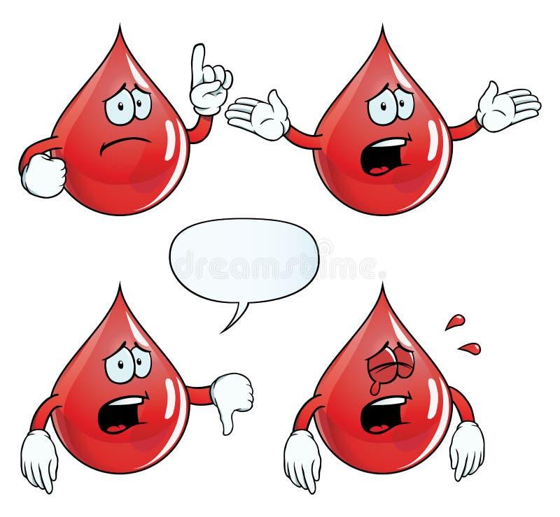 Skriande blod tappar uppsättningen stock illustrationer