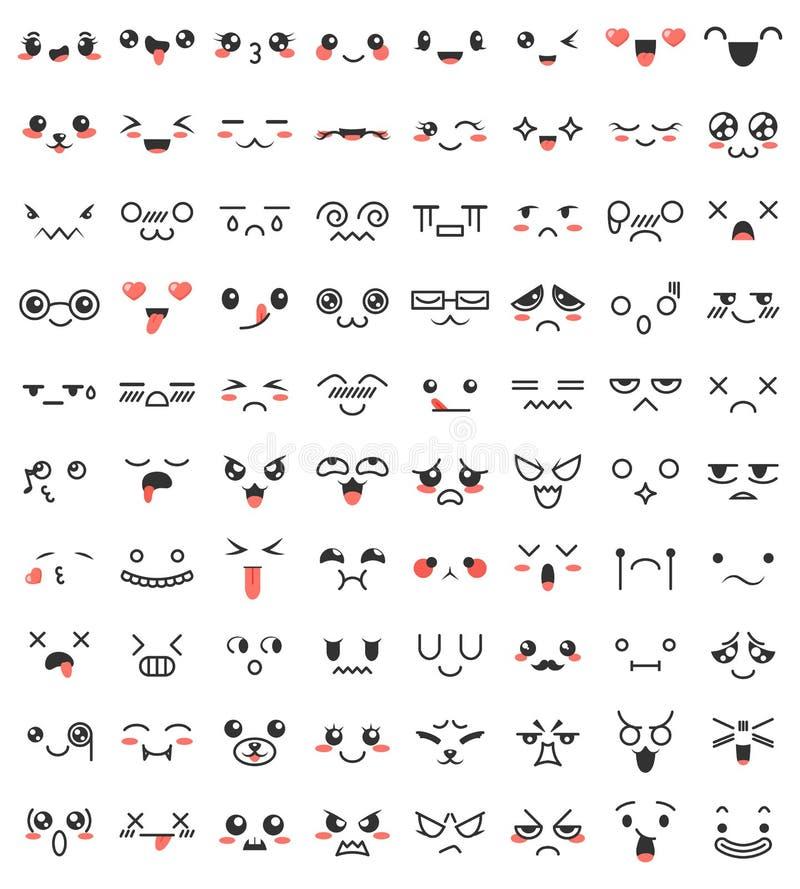 Samlingen av gullig älskvärd kawaii synar och skvallrar Klottertecknad filmframsidor i mangastil Gulliga emoticonemojitecken royaltyfri illustrationer