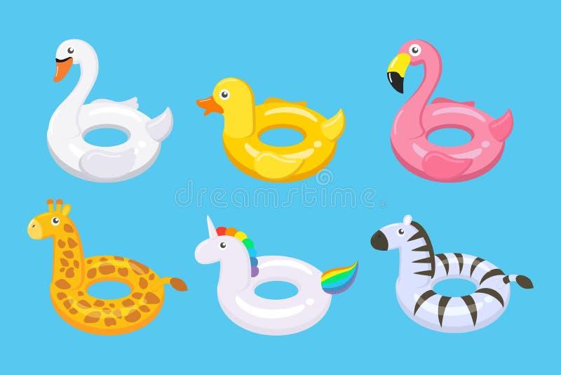 Samlingen av gullig ungeleksaker för färgrika flöten ställde in i olika djur stock illustrationer
