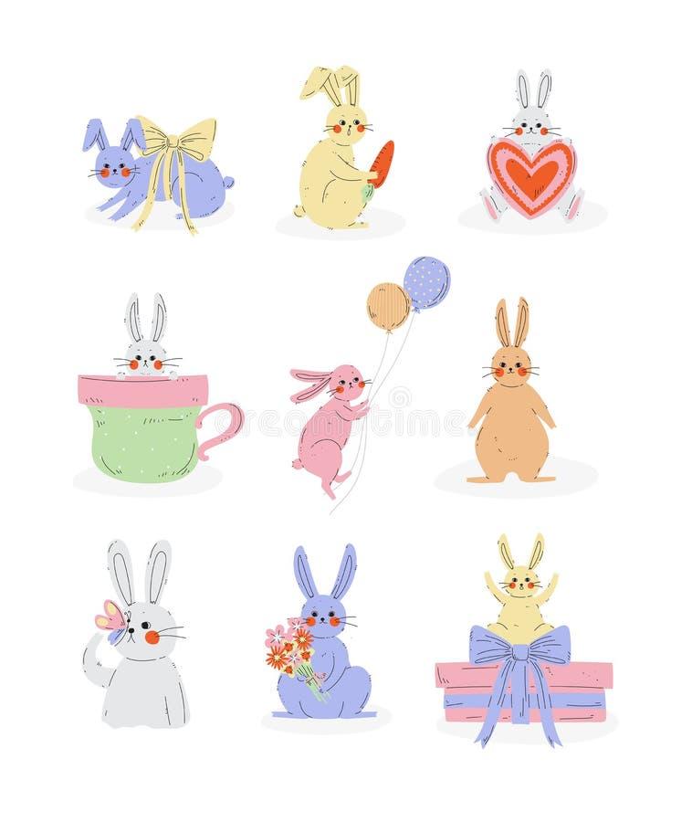 Samlingen av gulliga kaniner, söta kanintecken i olikt poserar och uttrycksvektorillustrationen stock illustrationer