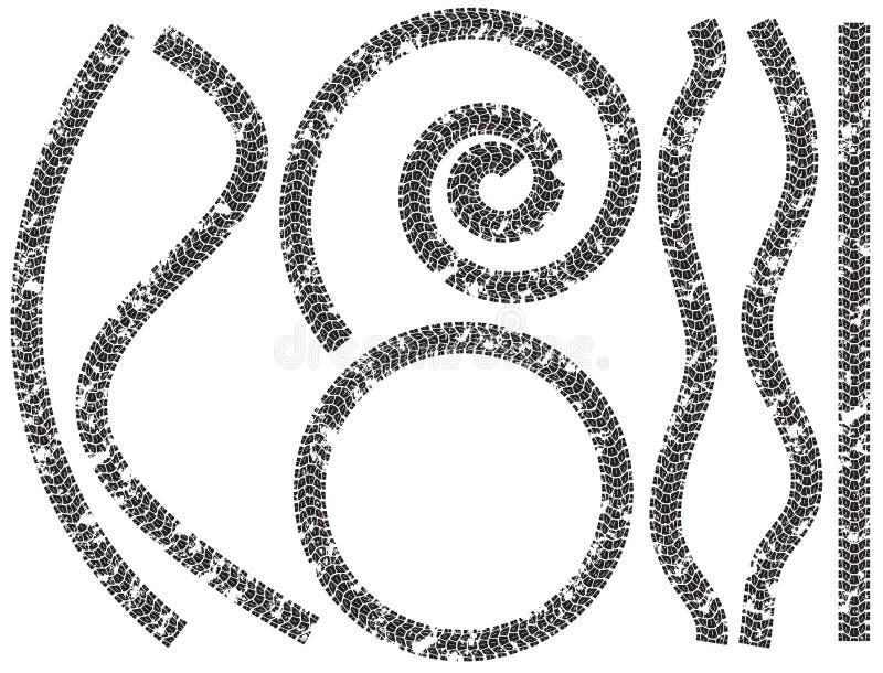 Samlingen av gummihjulet spårar motorcyklar stock illustrationer