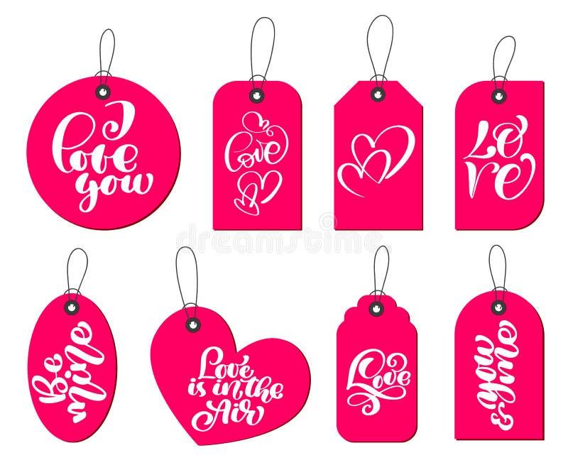 Samlingen av handen drog gulliga gåvaetiketter med inskriften älskar jag dig Valentindag, förbindelse, bröllop, födelsedag stock illustrationer
