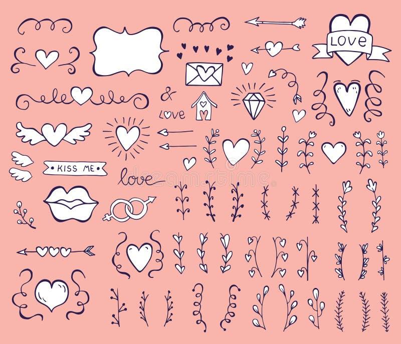 Samlingen av handen drog tappningvirveln smyckar mycket av hjärtor Beståndsdelar för design för packe för dag för valentin` s spe royaltyfri illustrationer