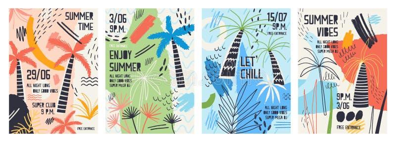 Samlingen av inbjudan- eller affischmallar som dekoreras med tropiska palmträd, målarfärg befläcker, fläckar och klottrar för royaltyfri illustrationer