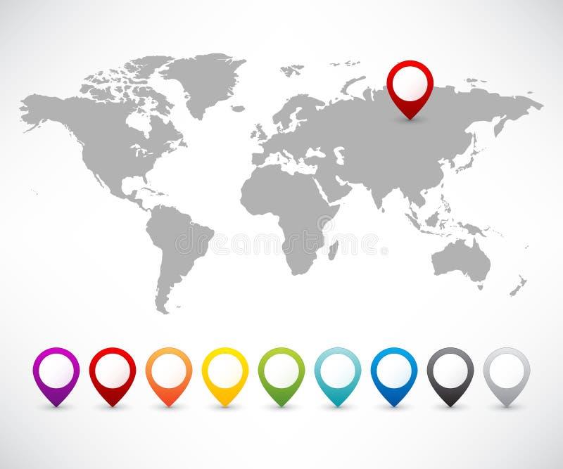 Samlingen av kartlägger pekare med världen kartlägger vektor illustrationer