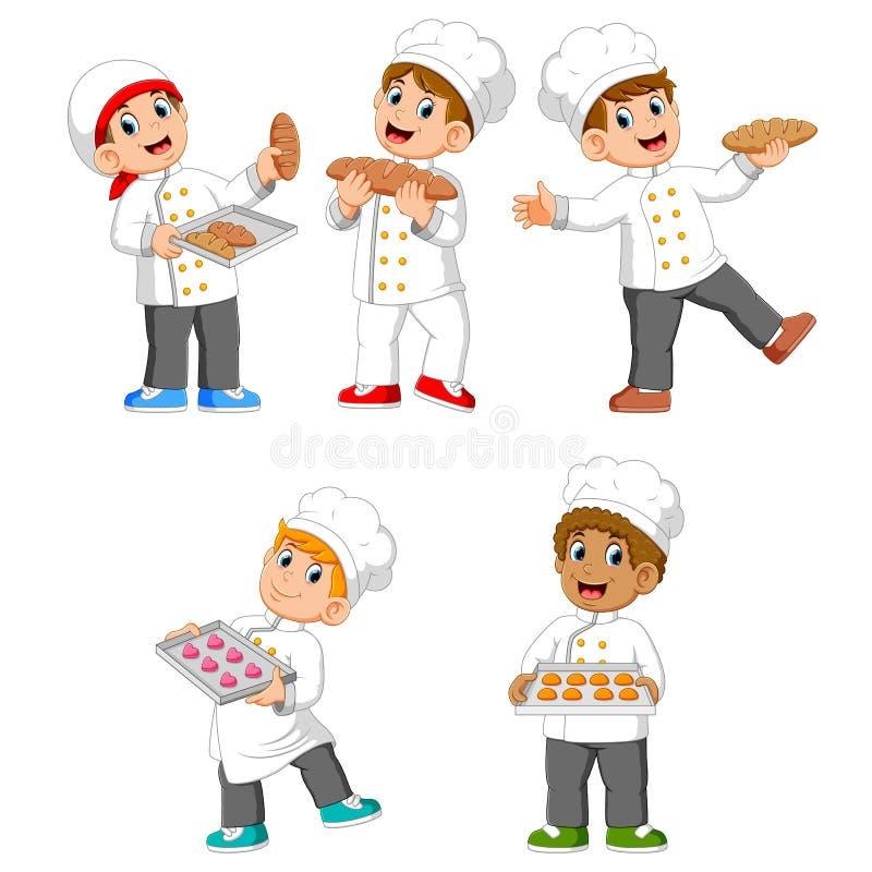 samlingen av kocken rymmer deras bröd och kakor stock illustrationer