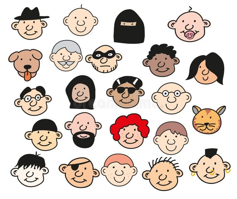 Samlingen av lyckligt folk heads den isolerade vektorillustrationen Att le män och kvinnor av olika nationaliteter, åldras och ha royaltyfri illustrationer