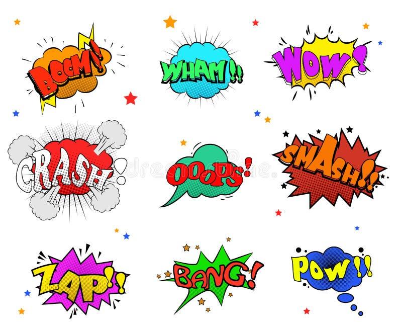 Samlingen av mångfärgade komiska solida effekter för dig planlägger vektor illustrationer